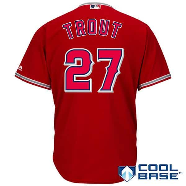 la angeles mike trout jersey in red in regular and big and tall xl-2x.  Browse LA Angels Men s Jerseys 4be9c6bcc